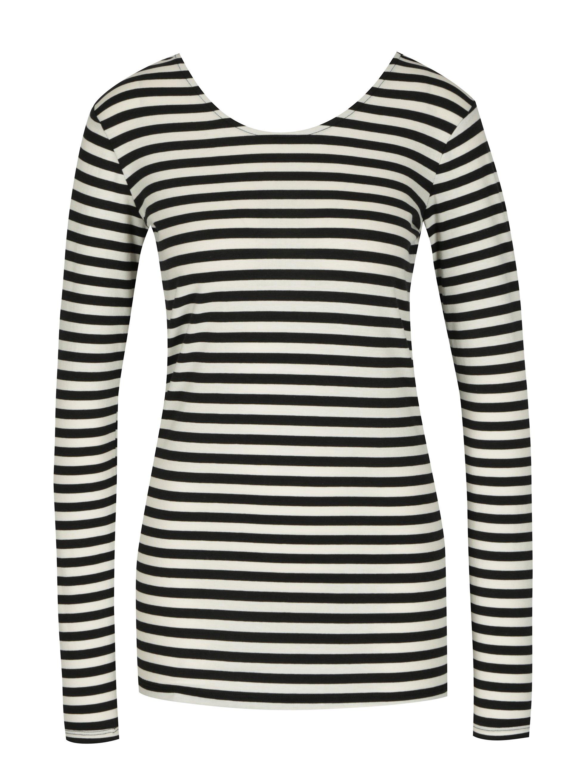 ef6bd099f Krémovo-čierne dámske pruhované tričko s dlhým rukávom Gracia Jeans ...