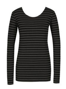 Sivo-čierne dámske pruhované tričko s dlhým rukávom Gracia Jeans