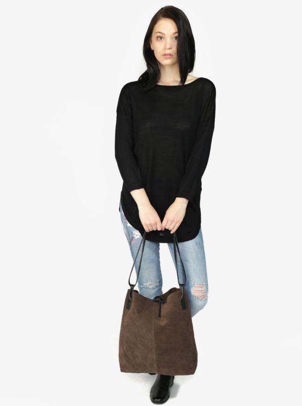 Čierny sveter s výstrihom na chrbte Haily's Tamara