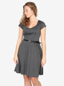 Tmavosivé melírované šaty s opaskom ZOOT