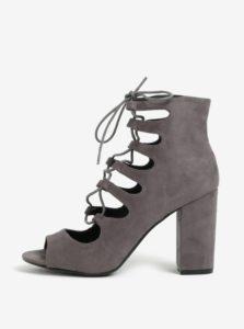 Sivé členkové topánky na podpätku so šnurovaním MISSGUIDED