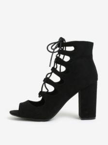 Čierne členkové topánky na podpätku so šnurovaním MISSGUIDED