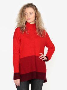 Červený dlhý oversize sveter s rozparkami na bokoch Oasis Funnel