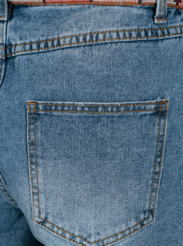 Modré rifľové kraťasy s vysokým pásom VILA Jules