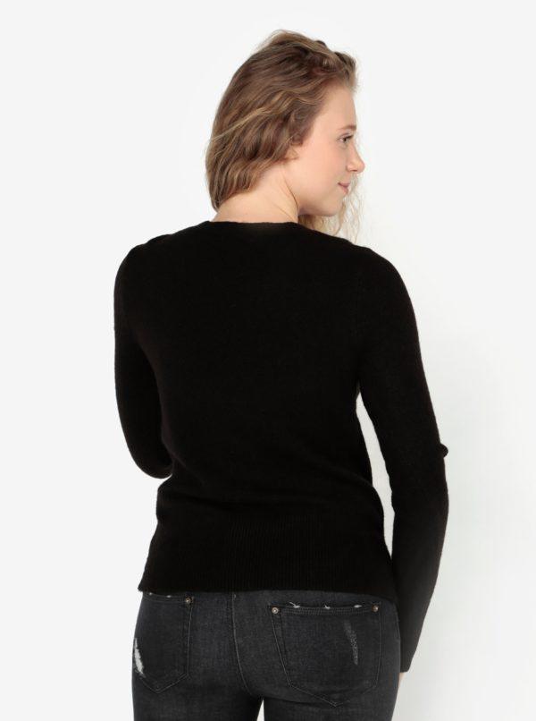 Čierny sveter s motívom jazvečíka z flitrov Oasis Jumper