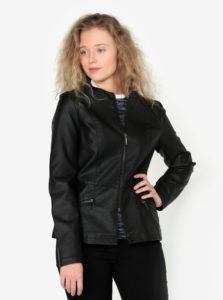 Čierna koženková bunda Oasis Faux
