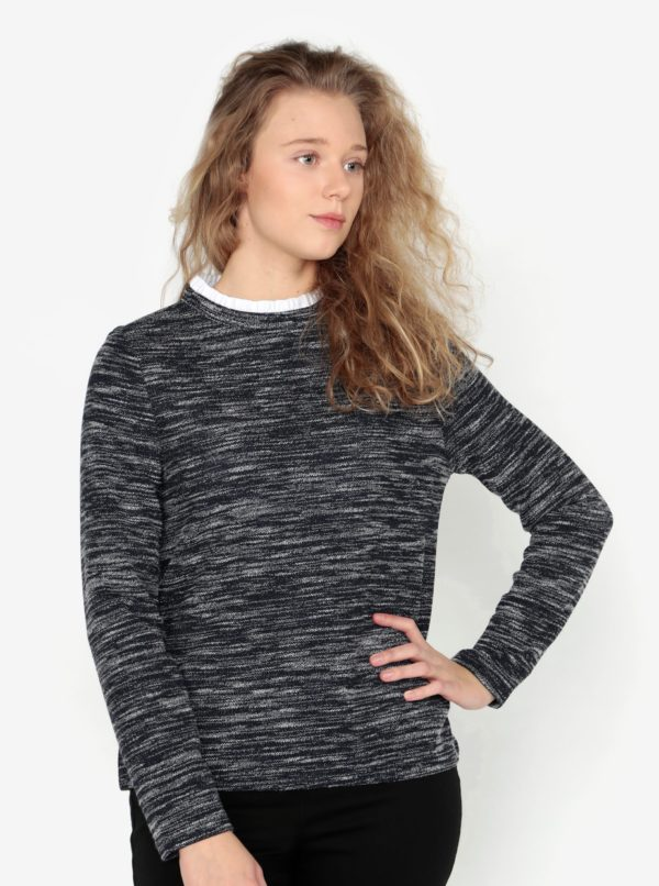 Tmavomodré melírované tričko s bielym stojačikom Oasis Tweed