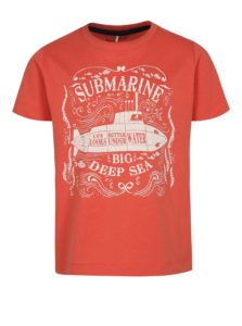 Koralové chlapčenské tričko s potlačou ponorky name it Mike