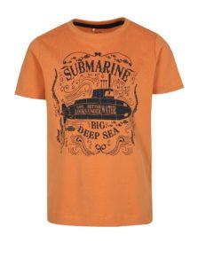 Oranžové chlapčenské tričko s potlačou ponorky name it Mike
