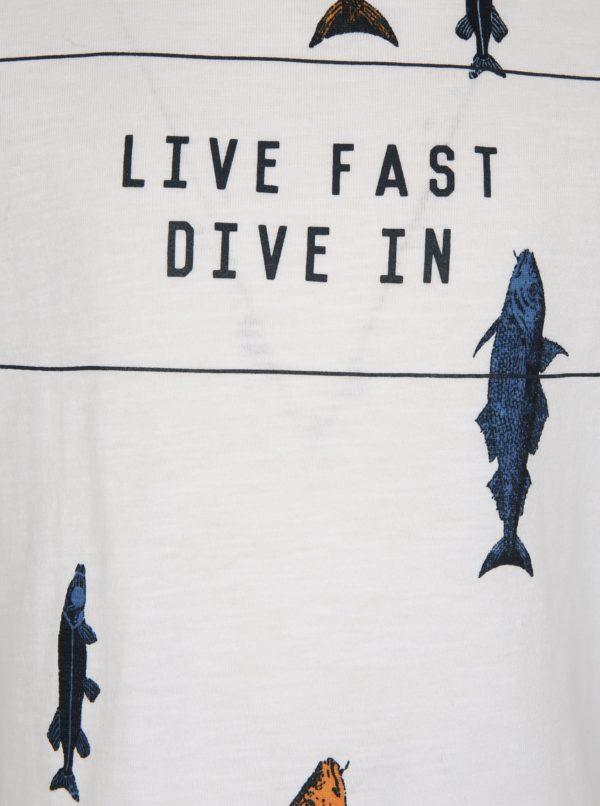 Biele chlapčenské tričko s potlačou rýb name it Ibrahim