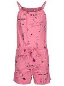 Ružový dievčenský vzorovaný overal name it Vigga