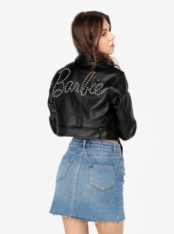 Čierna koženková krátka bunda s ozdobnými cvokmi na chrbte MISSGUIDED Barbie
