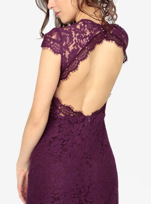 Fialové čipkované šaty s holým chrbtom MISSGUIDED  623a32dd451