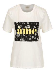 Krémové tričko s potlačou Selected Femme Marny
