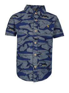 Tmavomodrá chlapčenská košeľa s potlačou žralokov Tom Joule