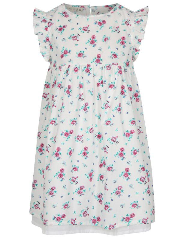 Biele dievčenské kvetované šaty name it Valaia
