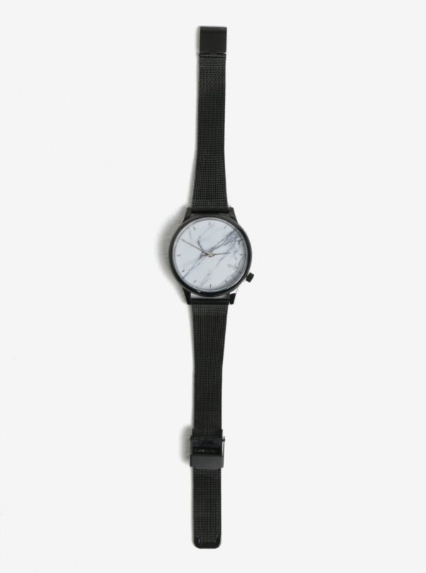 Bielo-čierne dámske hodinky s kovovým remienkom Komono Estelle Royale