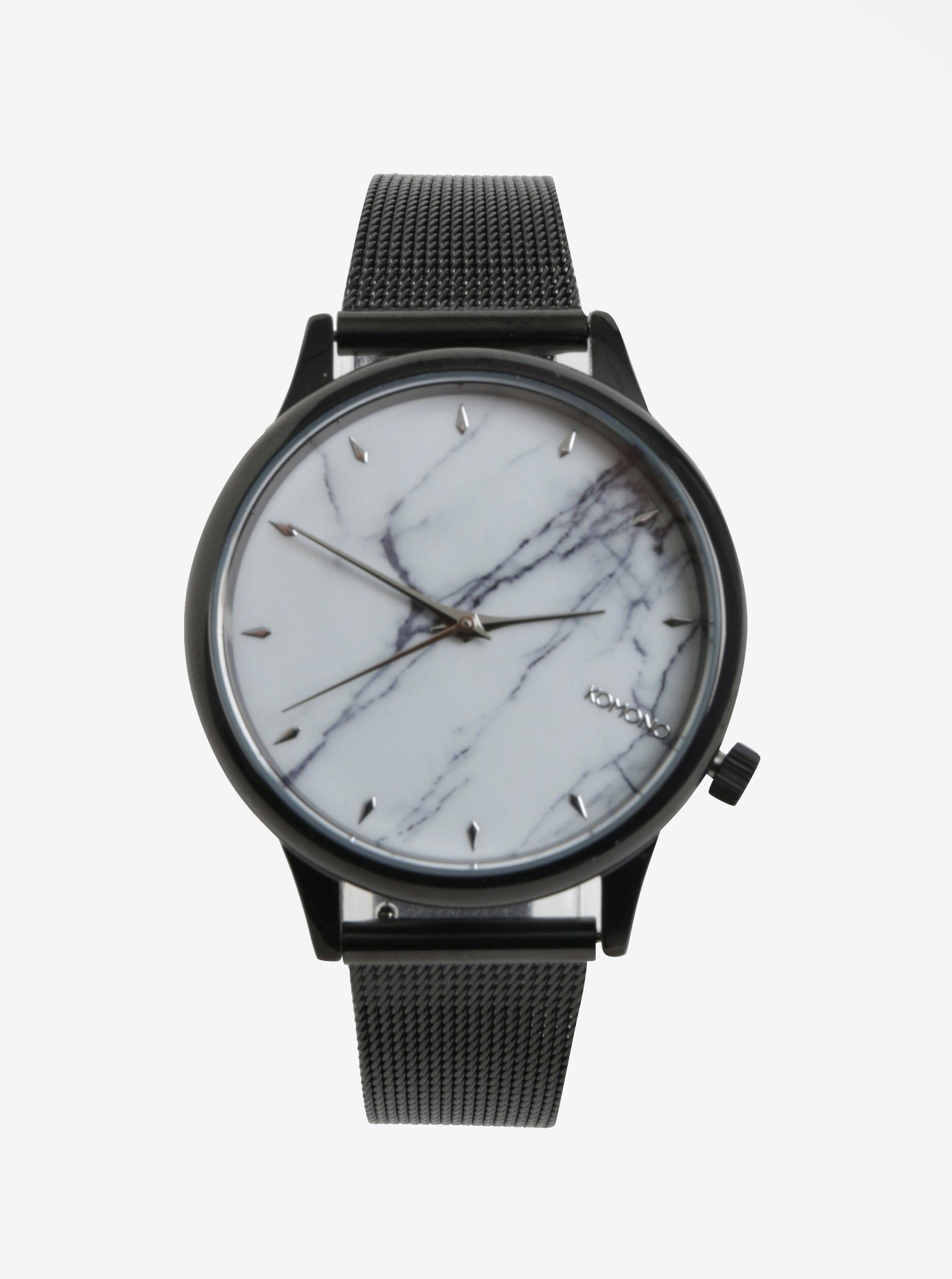 Bielo-čierne dámske hodinky s kovovým remienkom Komono Estelle Royale 6743de4f909