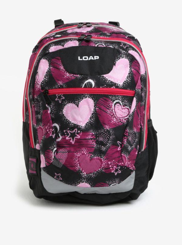 Čierno-ružový dievčenský vzorovaný batoh LOAP Ellipse 25 l