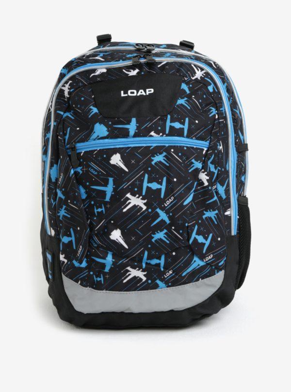 Čierno-modrý chlapčenský vzorovaný batoh LOAP Ellipse 25 l