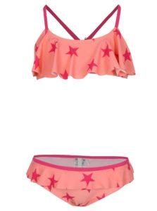Ružové dievčenské vzorované dvojdielne plavky name it Zu Jingle