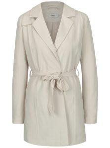 Krémový kabát s textilným opaskom ONLY Dicte