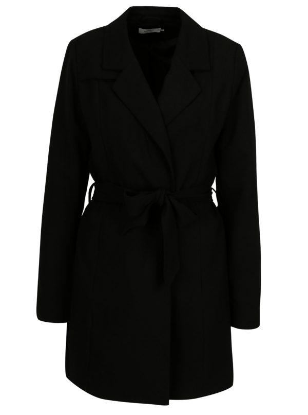Čierny kabát s textilným opaskom ONLY Dicte
