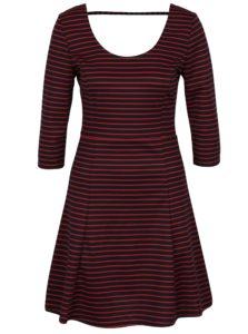 Modro-červené pruhované šaty s 3/4 rukávom ONLY Esra