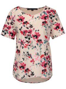 Svetloružové voľné kvetované tričko French Connection Linosa