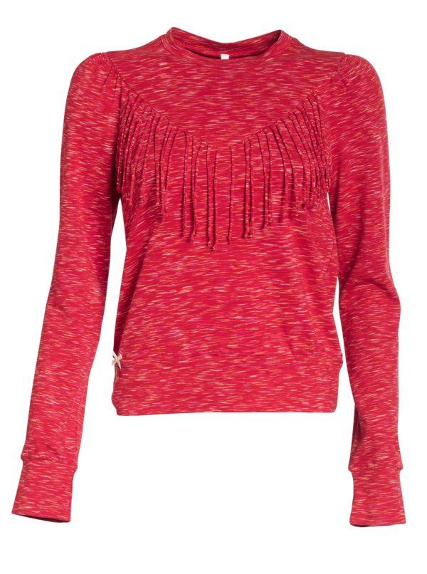 Červené melírované tričko s dlhým rukávom Blutsgeschwister