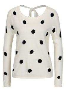 Krémový bodkovaný sveter s mašľou na chrbte Jacqueline de Yong Alice