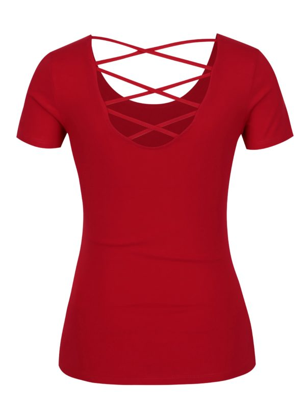 Červené tričko s prestrihom na chrbte TALLY WEiJL