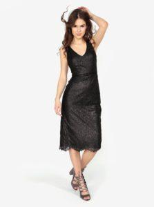 Čierne puzdrové čipkované trblietavé šaty Oasis Stella