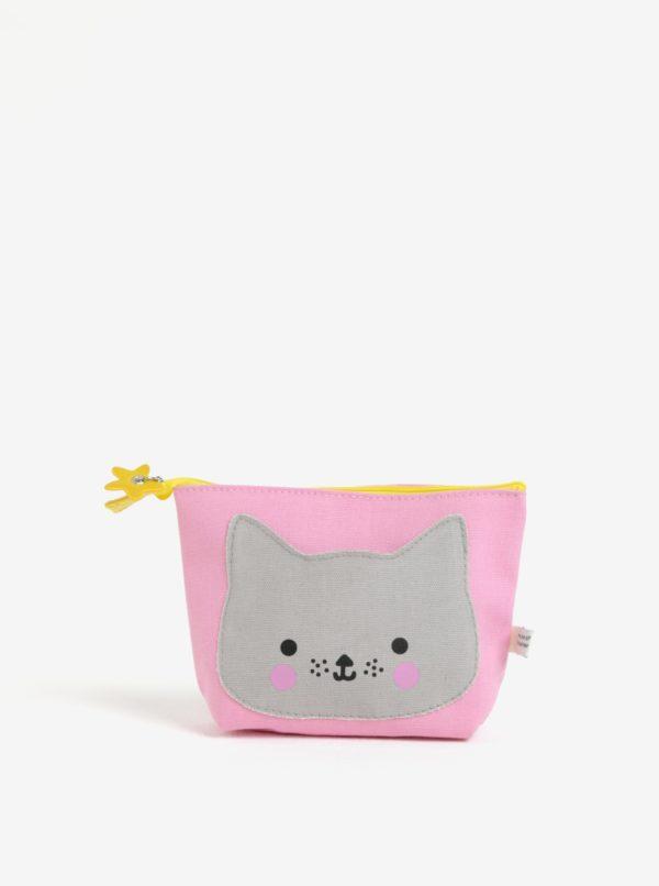 Sivo-ružová kozmetická taštička Disaster Hi Kawaii Cat