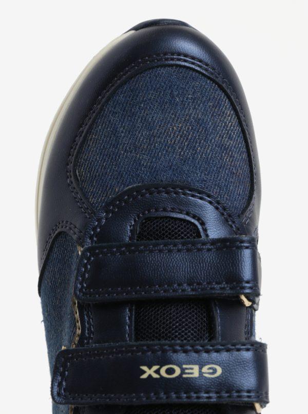 Modré dievčenské tenisky s detailmi v zlatej farbe Geox Jensea