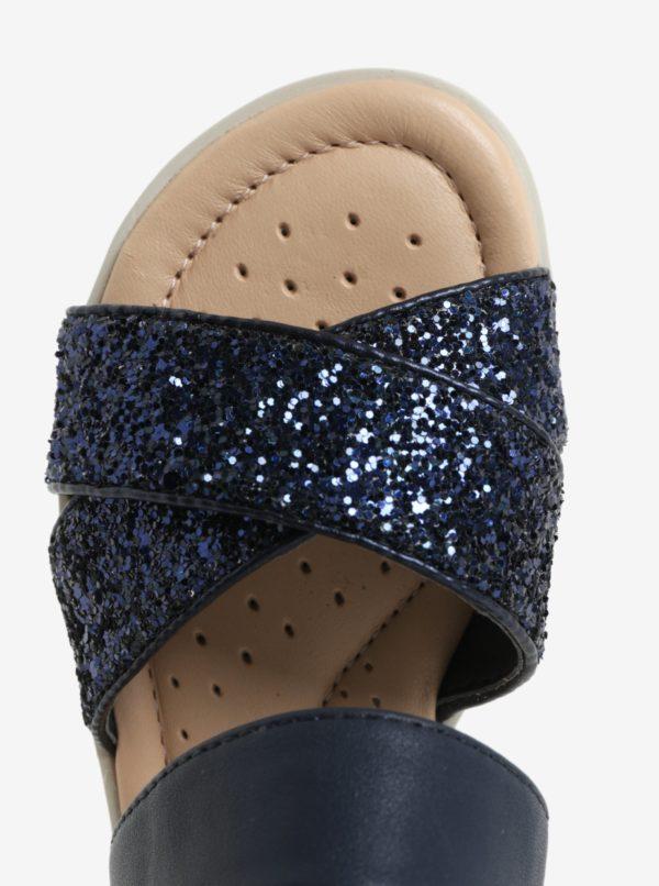 Tmavomodré dievčenské trblietavé sandáliky na platforme Geox Coralie