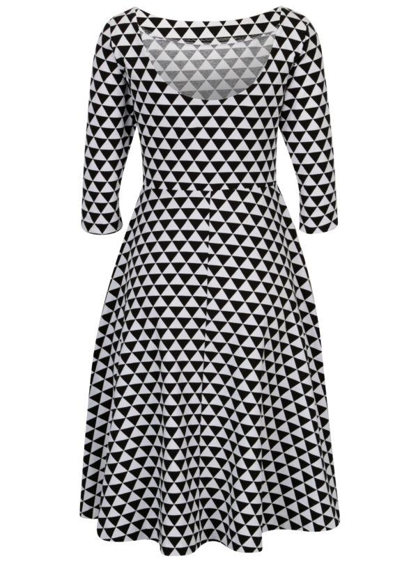 Čierno-biele áčkové vzorované šaty s 3 4 rukávom miestni Bla  ed50c110c1a