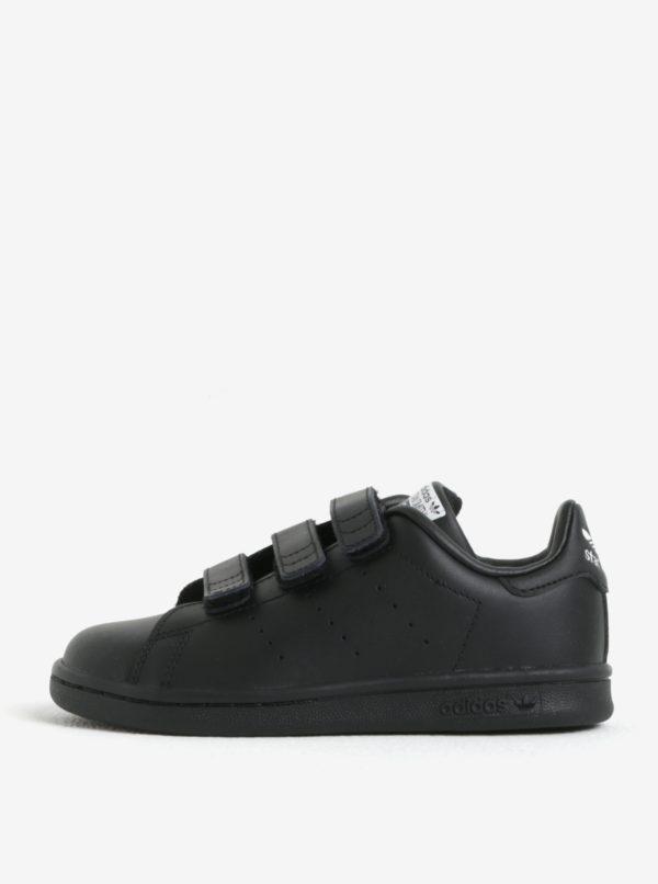 Čierne detské kožené tenisky na suchý zips adidas Originals