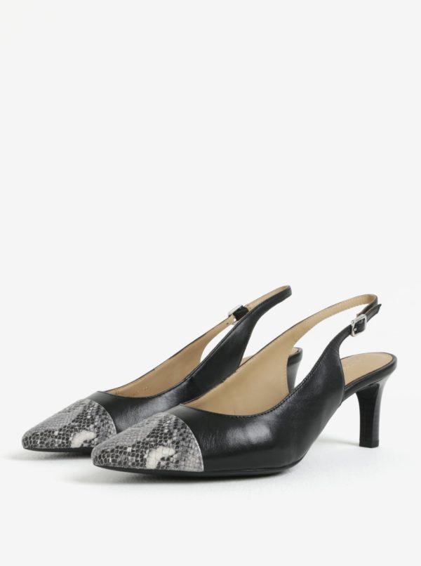 Čierne kožené sandálky Geox Bibbiana