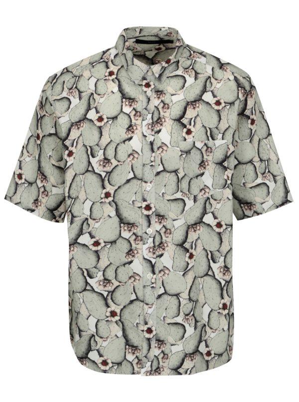 Krémovo-zelená vzorovaná košeľa SUIT