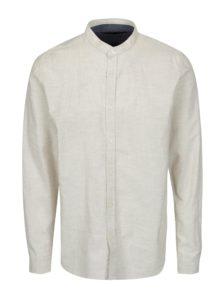 Krémová košeľa bez goliera SUIT Oxford