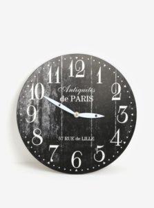 Čierne vintage nástenné hodiny SIFCON