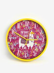 Ružovo-žlté dievčenské nástenné hodiny s motívom lamy SIFCON