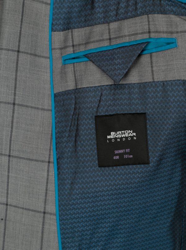 Sivé skinny fit kockované sako Burton Menswear London