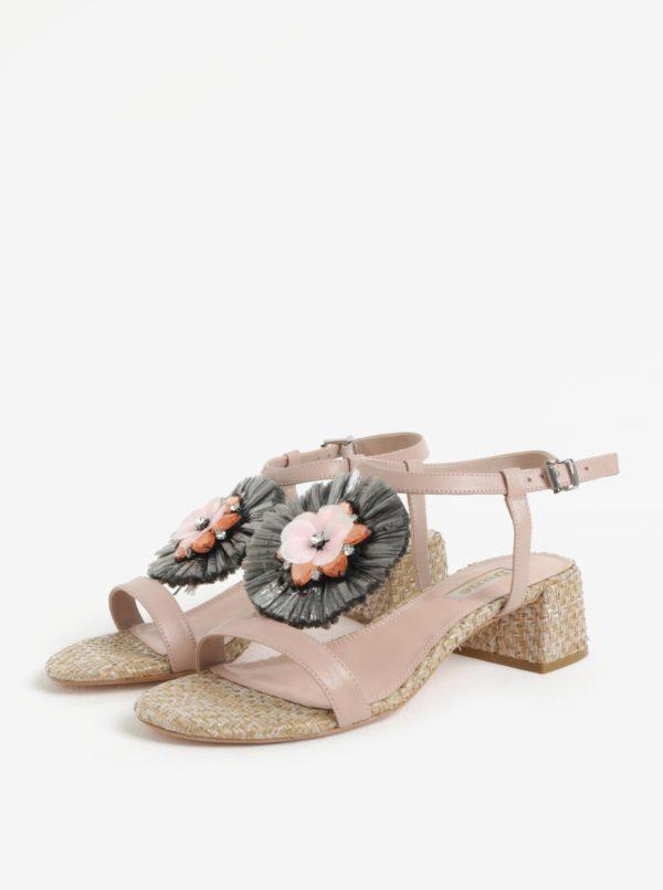 Staroružové kožené sandálky so zdobením Dune London Minah