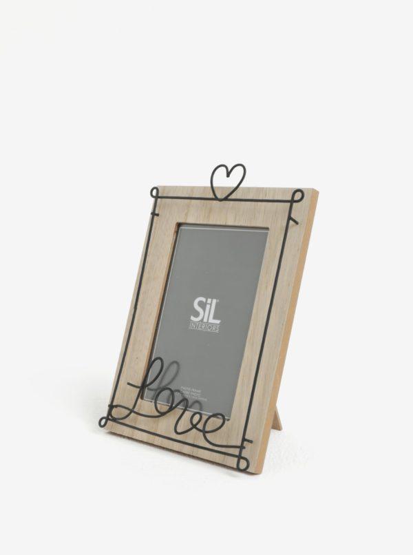 Béžový stolový rámik na fotografie s kovovým zdobením SIFCON