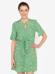 Svetlozelené kvetované šaty s uzlom Miss Selfridge