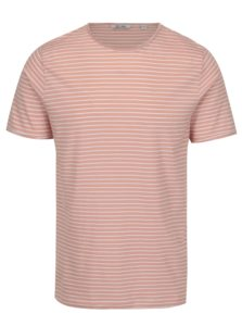 Krémovo-ružové pruhované tričko ONLY & SONS Albert Stripe
