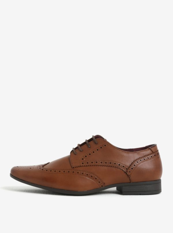 Svetlohnedé brogue poltopánky Burton Menswear London
