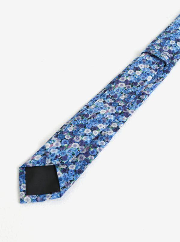 Modrá kvetovaná kravata Burton Menswear London